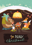 Cute bear with rabbit and fox celebrating Christmas in his den. Vector greeting card Royalty Free Stock Photography