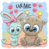Cute Bear and rabbit girl. With hearts royalty free illustration