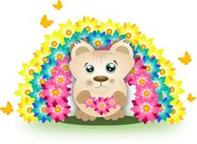 Cute bear with rainbow of flowers Stock Photography