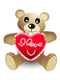 Cute bear with red heart Royalty Free Stock Images