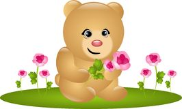 Cute bear with roses Royalty Free Stock Images