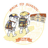 Cute bear with rucksack. Back to School. Sale. Royalty Free Stock Images