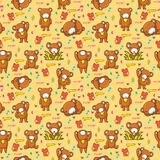 Cute bear seamless pattern Stock Photos