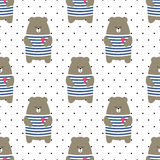 Cute bear seamless pattern on polka dots background. Cartoon parisian teddy bear vector illustration. Child drawing style animal background. Design for fabric Royalty Free Stock Image