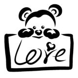 Cute bear and a sign with the word Love royalty free illustration