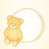 Cute bear sit with circle shape blank frame. Stock Image