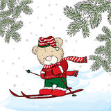 Cute bear skiing. New Year`s and Christmas. Cute Bear on winter vacati. Cute bear skiing. Vector illustration for a card or poster. Print on clothes. New Year`s stock illustration