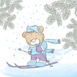 Cute bear skiing. New Year`s and Christmas. Cute Bear on winter vacati Stock Photography