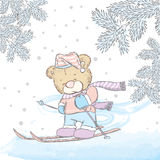 Cute bear skiing. New Year`s and Christmas. Cute Bear on winter vacati. Cute bear skiing. Vector illustration for a card or poster. Print on clothes. New Year`s royalty free illustration