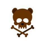 Cute bear skull with bones. Honey bear  good skeletons head, kin Stock Photo