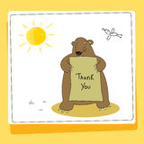 Cute bear thank you card. Vector illustration. Hand drawn doodle style Stock Images