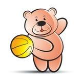 Cute bear throweing basket ball stock illustration