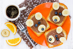 Cute bear toast with chocolate banana and blueberry - creative f Royalty Free Stock Photography
