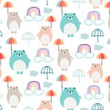 Cute Bear And Umbrella Pattern Background For Kids. Vector Illustration Background vector illustration