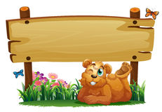 A cute bear under the empty wooden signboard Royalty Free Stock Photo