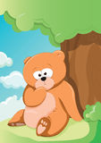 Cute Bear. Vector illustration of a cute bear relaxing under a tree Stock Image