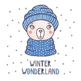 Cute bear in a warm hat. Hand drawn vector portrait of a cute funny bear in a warm knitted hat, text Winter wonderland. Isolated objects on white background with Royalty Free Stock Photos