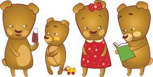 Cute bears. Three cute bears and one cub Royalty Free Stock Photos