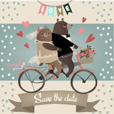Cute bears on bicycle. For wedding invitation cards Royalty Free Stock Photography
