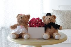 Cute Bears with Blank Note Royalty Free Stock Images