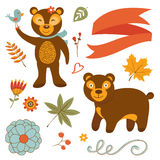 Cute bears colorful set with flowers leaves and Stock Photos