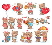Cute Bears Couples Spend Valentines Day Together. Exchange festive presents, read books and stand under umbrella isolated vector illustrations set Royalty Free Stock Photos