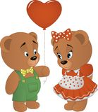 Cute bears with heart Royalty Free Stock Images