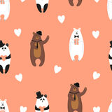 Cute bears pattern. Seamless romantic background Stock Image