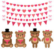 Cute bears and pink decoration set Royalty Free Stock Photo