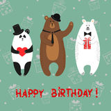 Cute bears - polar, brown, panda. Happy birthday card Stock Images
