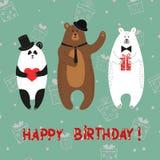 Cute bears - polar, brown, panda. Happy birthday card. Vector illustration Stock Images