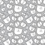 Cute bears seamless pattern.. Background with Teddy bear in doodle sketchy style. Vector illustration. With funny wild animals in line art artistic style stock illustration