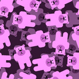 Cute bears seamless pattern. Pink animals 3D background. Funny a Royalty Free Stock Images