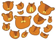 Cute bears set.. Teddy bear in doodle sketchy style. Vector illustration. With funny wild animals in line art artistic style. Design element vector illustration