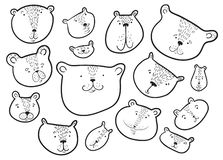 Cute bears set.. Teddy bear in doodle sketchy style. Vector illustration. With funny wild animals in line art artistic style. Design element royalty free illustration