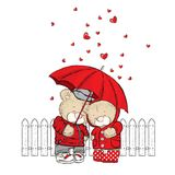 Cute bears are standing under an umbrella and hearts are pouring down on them. Vector illustration for a postcard or a poster. Stock Photography