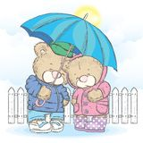 Cute bears are standing under an umbrella and hearts are pouring down on them. Vector illustration for a postcard or a poster. Royalty Free Stock Images
