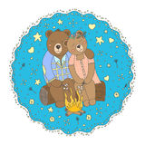 Cute bears vector illustration. Cute bears roast marshmallows over the fire while sitting on a log.Vector illustration hand-drawn to decorate greeting cards Royalty Free Stock Photos
