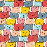 Cute Bears Vector Pattern Background. Fun Doodle. Stock Image