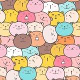 Cute Bears Vector Pattern Background. Fun Doodle. Handmade Vector Illustration vector illustration