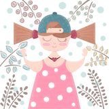 Cute, beautifu girl - cartoon illustration stock illustration