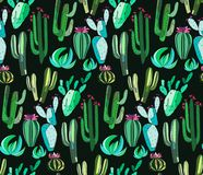 Cute beautiful abstract lovely mexican tropical floral herbal green set of a cactus paint like child pattern on dark background ve Royalty Free Stock Photos