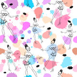 Cute beautiful abstract seamless pattern with girls, lips, kisses and splash. Texture, textile, background stock illustration