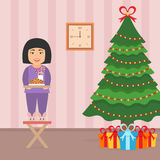 Cute beautiful asian girl child standing on a chair near the Christmas Tree. Room interior in vector flat style Stock Photo