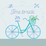 Cute beautiful bicycle with birds and flowers and decorative wheels. Vector illustration Stock Images