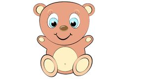 Cute, beautiful, brown bear boy with big head and blue eyes on white background and copy space. vector illustration