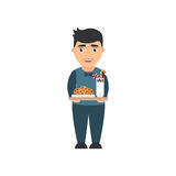 Cute,beautiful character of the boy in the pajamas. Holds the milk and cookies. Vector illustration in flat style. Cute,beautiful character of the boy in the Royalty Free Stock Photos