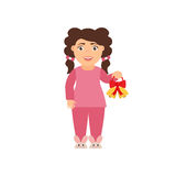 Cute,beautiful character of the girl in the pajamas. Vector illustration in flat style. Royalty Free Stock Photography