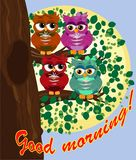 Cute beautiful flirtatious red owl on a branch with a cup of steaming coffee, tea or chocolate. Cute beautiful flirtatious owls on a branch with a cup of stock illustration
