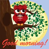 Cute beautiful flirtatious red owl on a branch with a cup of steaming coffee, tea or chocolate. Inscription Good morning stock illustration